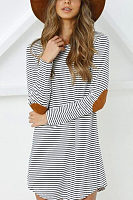 Round Neck  Asymmetric Hem  Striped Casual Dresses