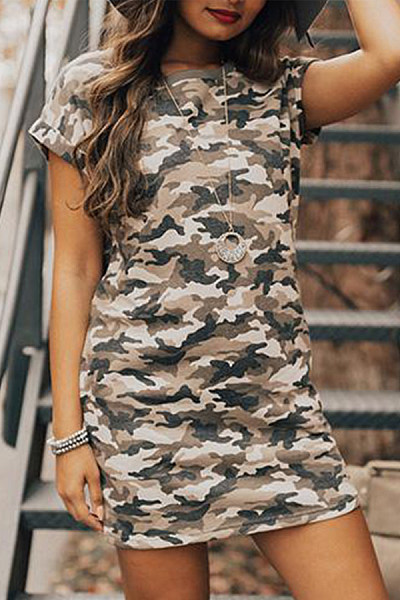 Round Neck  Camouflage  Short Sleeve Bodycon Dresses