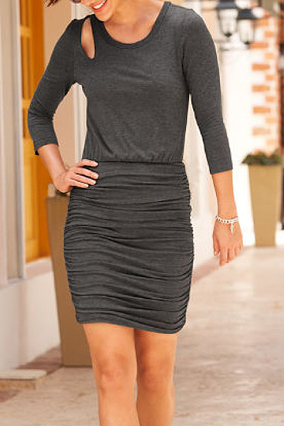 Casual Round Neck Long Sleeve Solid Color Slim Mini Dress