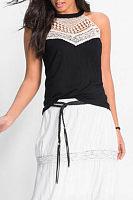 Halter  Decorative Lace  Plain Vest