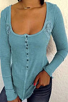Deep U Neck Long Sleeve Lace Patchwork Button T-Shirts