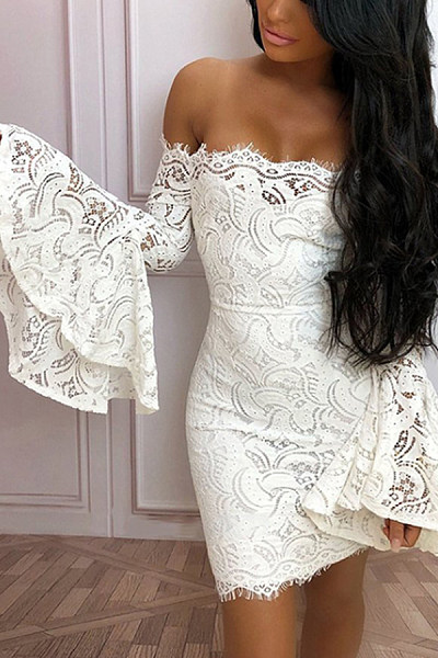 Off Shoulder  Decorative Lace  Plain  Bell Sleeve  Long Sleeve Bodycon Dresses