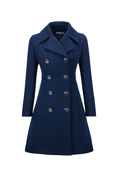 Lapel  Double Breasted  Plain Woolen Coats