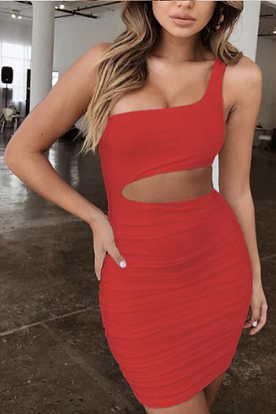 One Shoulder  Plain Bodycon Dresses