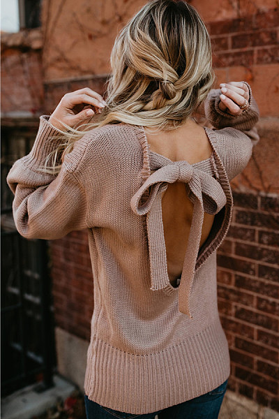 Crew Neck  Backless  Back Hole  Plain Sweaters