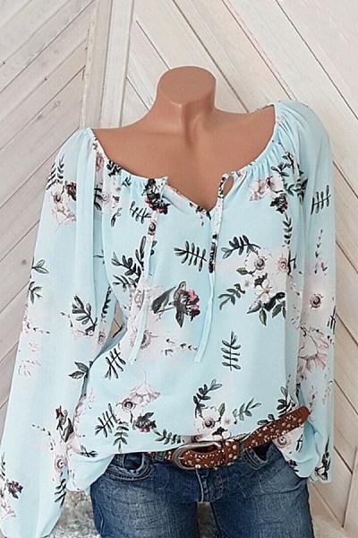 Casual V Neck Long Sleeves Printed Shirt