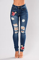 Broken Holes Single Button  Embroidery Jeans