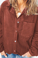 Casual Corduroy Thick Long Sleeve Solid Color Shirt