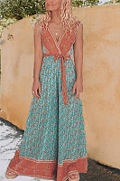 Boho Modest V Neck Sleeveless Jumpsuits