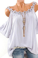 Spaghetti Straps Short Sleeve Hollow Out Blouses