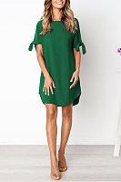 Round Neck  Asymmetric Hem  Plain  Half Sleeve Casual Dresses