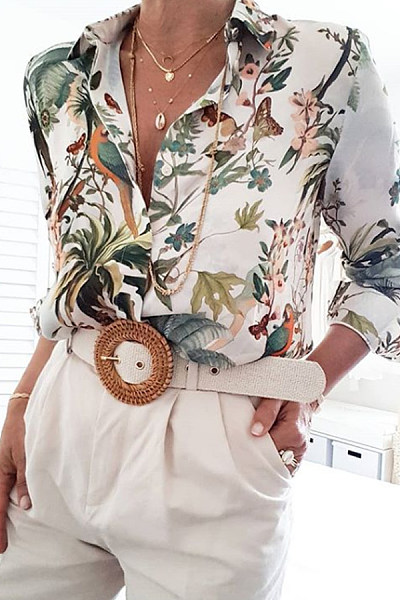 Casual Fold Collar Button Floral Print Long Sleeve Shirt