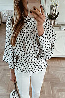 Women's Polka Dot Puff Sleeve Blouse