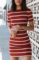 Round Neck  Striped  Short Sleeve  Elegant Bodycon Dresses