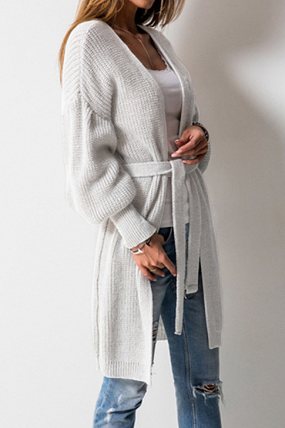 Snap Front  Belt  Plain Cardigans