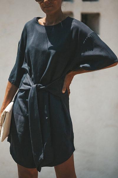 Round Neck  Asymmetric Hem  Belt  Plain  Short Sleeve Casual Dresses