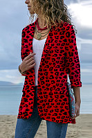 Narrow Notch Lapel  Flap Pocket  Leopard Printed Blazers