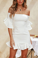 Off Shoulder  Flounce  Plain  Bell Sleeve  Half Sleeve Bodycon Dresses