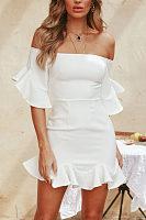 Off Shoulder  Flounce  Plain  Bell Sleeve  Half Sleeve Bodycon Dresses