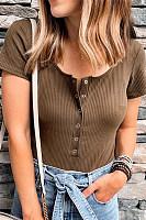 Brief Round Neck Short Sleeve Pure Colour Bodycon T-Shirt