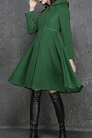 Hooded  Decorative Buttons  Plain Outerwear