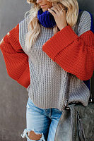 Turtle Neck  Color Block Sweaters