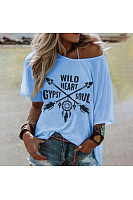 Round Collar Short Sleeve Printing Loose Casual T-Shirt