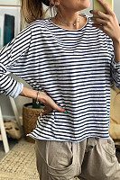 Casual Round Neck Striped Loose Long-Sleeved T-Shirt