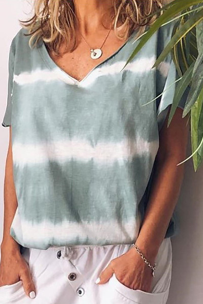 V-Neck Striped Casual Loose T-Shirt