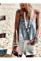 Casual Pleated Boat Neck Stripe Bare Back Off-Shoulder Tank Top