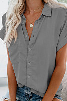 Commuting Turndown Collar Pure Colour Patch Pocket Short Sleeve Blouse