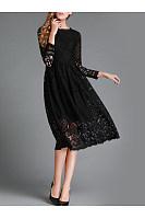 Round Neck Lace Hollow Out Plain Pocket  Skater  Dress