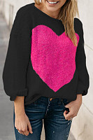 Round Neck  Floral Sweaters
