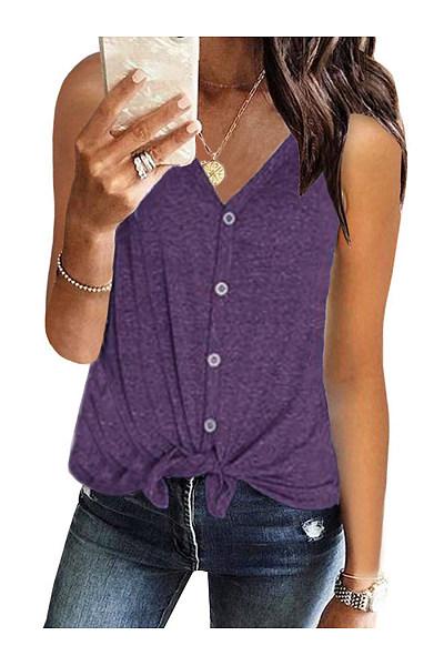 V-Neck Sleeveless Cardigan T-Shirt