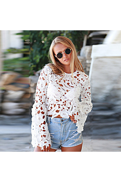 Crew Neck  Hollow Out Plain  Bell Sleeve  Blouses