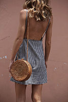 Spaghetti Strap  Backless  Checkered  Sleeveless Casual Dresses