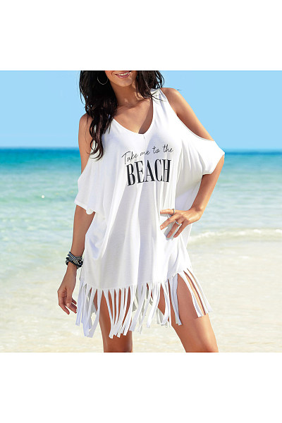 Cold Shoulder Tassels Short Dress