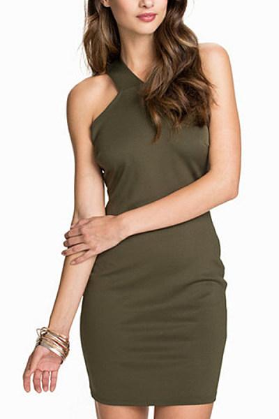 Halter  Backless  Plain  Sleeveless Bodycon Dresses