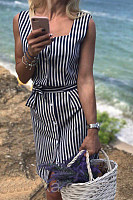 Spaghetti Strap  Single Breasted  Striped  Sleeveless Bodycon Dresses