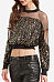 Round Neck  Patchwork  Exposed Navel Glitter Blouses