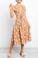 Deep V Neck  Printed  Short Sleeve Maxi Dresses