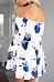 Open Shoulder  Drawstring  Floral Printed  Bell Sleeve  Long Sleeve Casual Dresses