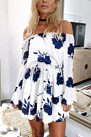 Open Shoulder  Drawstring  Floral Printed  Bell Sleeve  Long Sleeve Casual Dresses
