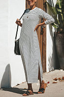 Round Neck  Slit  Striped  Long Sleeve Maxi Dresses