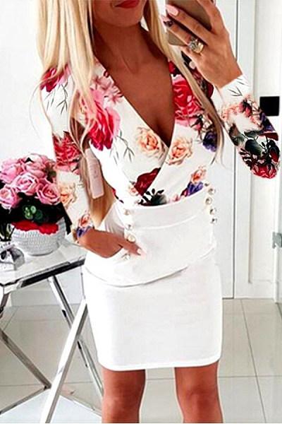 Sexy Deep V Neck Long Sleeve Floral Pattern Hip Skirt