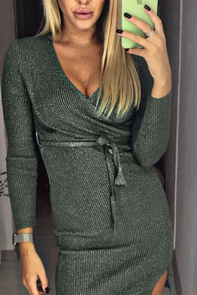 V Neck  Belt  Plain  Long Sleeve Bodycon Dresses