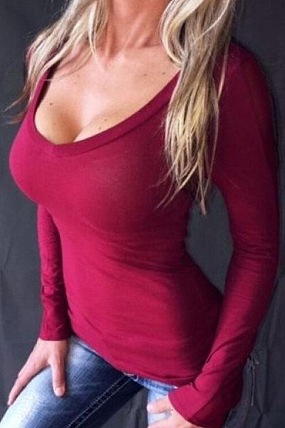 Round Neck  See Through  Plain T-Shirts