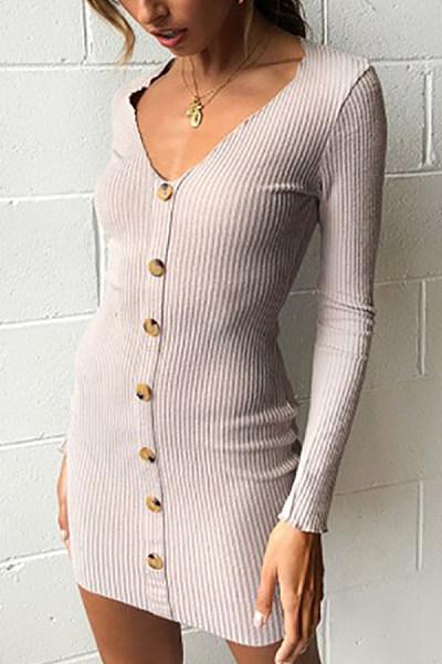 V Neck  Single Breasted  Plain  Long Sleeve Bodycon Dresses