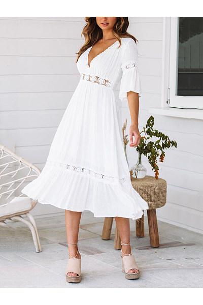 V-Neck Lace Trumpet Sleeve Maxi Dresses