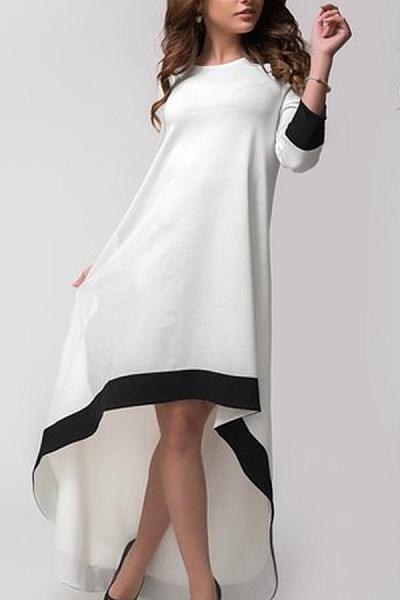 ed10cf3d77 Crew Neck Asymmetric Hem Plain Long Sleeve Maxi Dresses ...